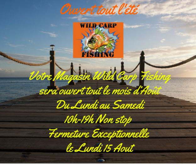 Votre Magasin Wild Carp Fishingsera ouvert tout le mois d'AoûtDu Lundi au Samedi14h-19h Non stop (2)